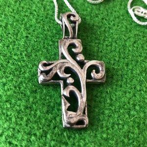Jewelry - Sterling silver open work cross pendant necklace
